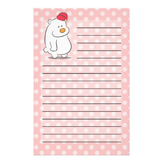 Cute polar bear with polka dots pattern background customised stationery