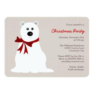 Cute Polar Bear with Red Bow Christmas Party Card