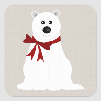 Cute Polar Bear with Red Bow Rustic Holiday Square Sticker