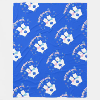 Cute Polar Bears and Snowflakes Fleece Blanket