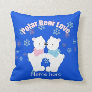 Cute Polar Bears and Snowflakes Personalized Cushion