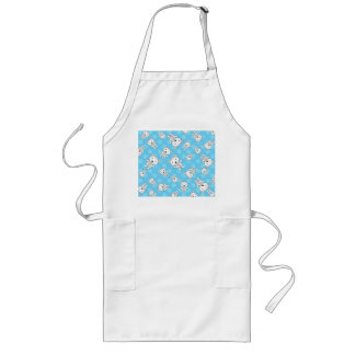 Cute polar bears blue snowflakes long apron