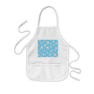 Cute polar bears blue snowflakes apron