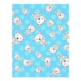 Cute polar bears blue snowflakes 21.5 cm x 28 cm flyer