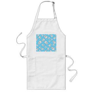 Cute polar bears blue snowflakes long apron