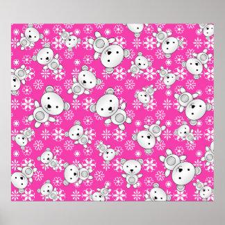 Cute polar bears christmas pink snowflakes poster