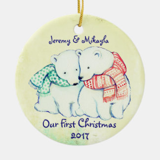 "Cute Polar Bears in Scarves ""Our First Christmas"" Christmas Ornament"