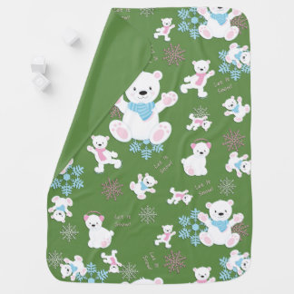 Cute Polar Bears Let It Snow Pattern Print Baby Blanket