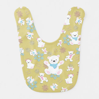 Cute Polar Bears Let It Snow Pattern Print Bib