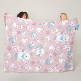 Cute Polar Bears Let It Snow Pattern Print Fleece Blanket