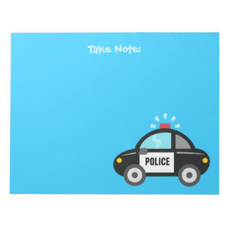 Cute Police Car with Siren For Kids Notepad