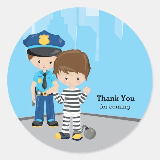Cute Police Officer Round Sticker