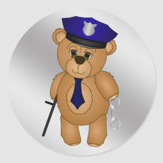 Cute Policeman Kids Teddy Bear Cartoon Mascot Round Stickers