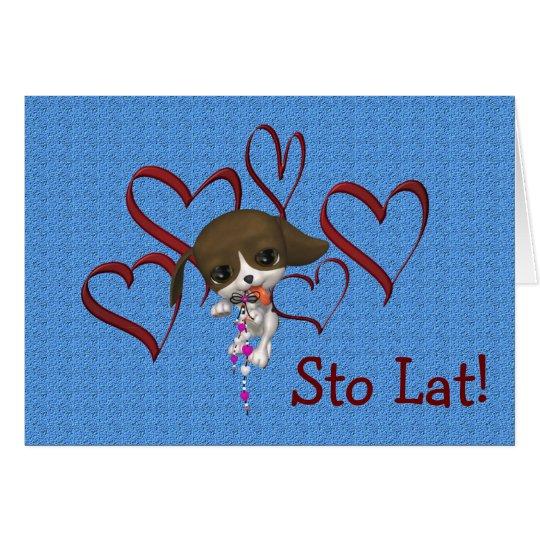 Cute Polish Birthday Card Puppy Hearts