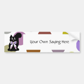 Cute Polka Dot Black Kitty Cat Bumper Sticker