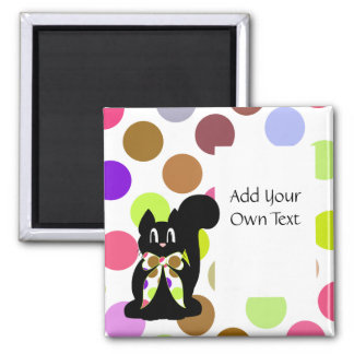 Cute Polka Dot Black Kitty Cat Customizable Magnet