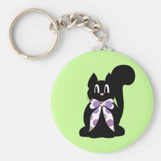 Cute Polka Dot Black Kitty Cat Keychain