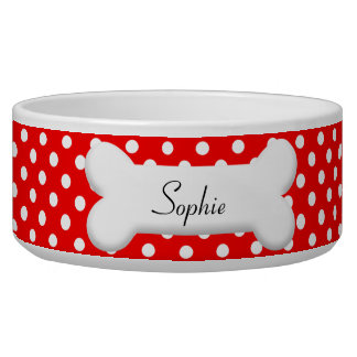 Cute polka dot bowl with your dogs name on a bone
