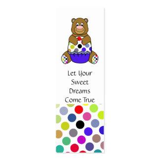 Cute Polka Dot Brown Birthday Bear Bookmark Business Card Templates