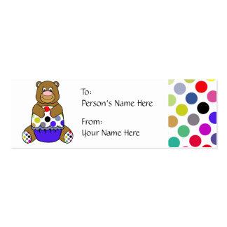 Cute Polka Dot Brown Birthday Bear Gift Tag Business Card Templates