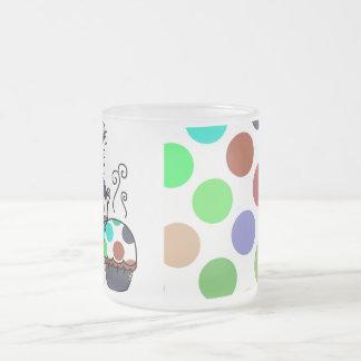 cute polka dot cupcake frosted glass mug