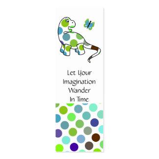 Cute Polka Dot Dinosaur Bookmark Business Card Template