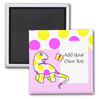Cute Polka Dot Dinosaur Customizable Magnet