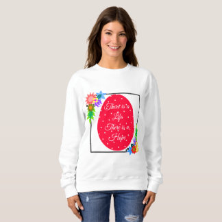 Cute polka dot Easter egg with floral wreath Sweatshirt