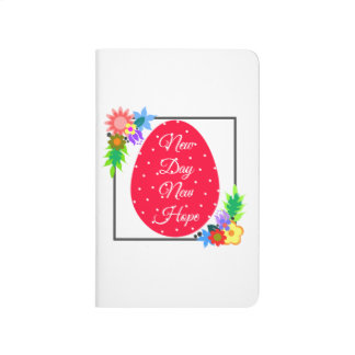 Cute polka dot egg with floral wreath journal