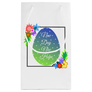Cute polka dot egg with floral wreath small gift bag