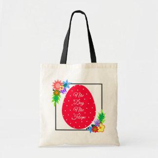 Cute polka dot egg with floral wreath tote bag