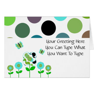 Cute Polka Dot Flowers Greeting Card