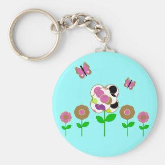 Cute Polka Dot Flowers Keychain