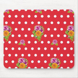 Cute polka dot flowers mousepad