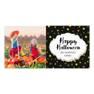 Cute Polka Dot Happy Halloween Picture Photo Card