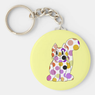 Cute Polka Dot Kitty Cat Keychain