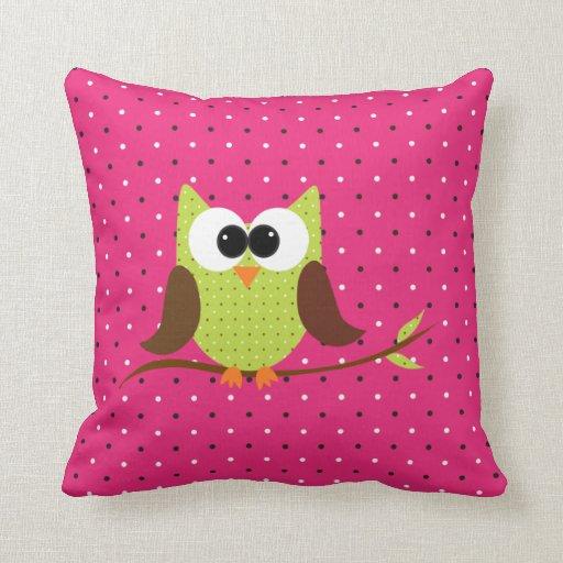Cute Polka Dot Owl on Branch Pillow
