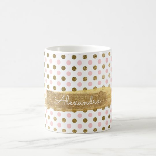Cute Polka Dot Pink and Gold Coffee Cup