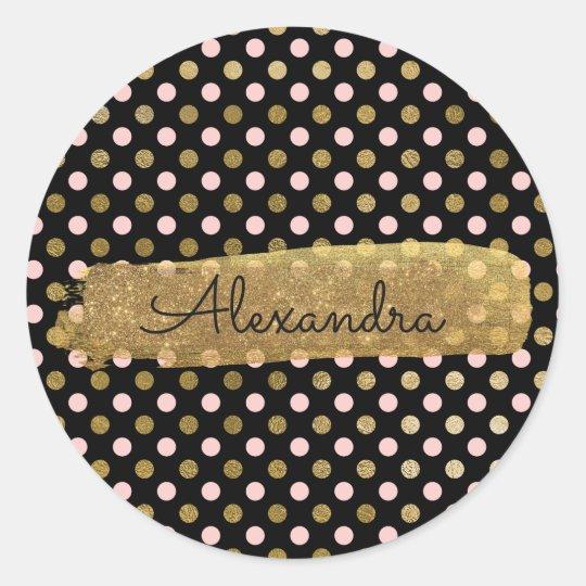 Cute Polka Dot Pink and Gold Envelope Seal