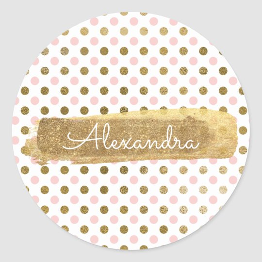 Cute Polka Dot Pink and Gold Envelope Seal