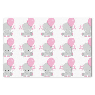 Cute Polka Dot Pink Elephant Girl Baby Tissue Paper