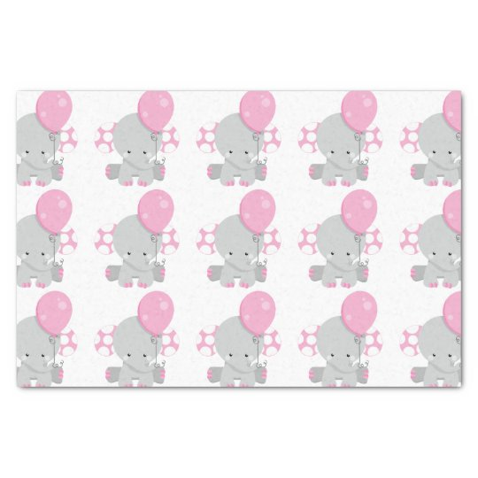 Cute Polka Dot Pink Elephant Girl Baby Tissue