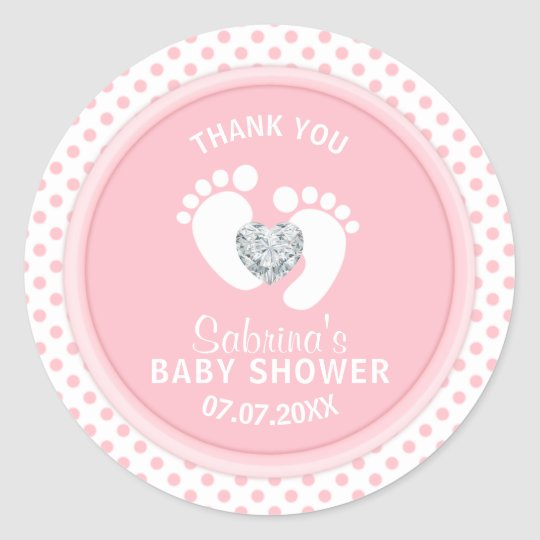 Cute Polka Dot Pink White Feet Baby Shower