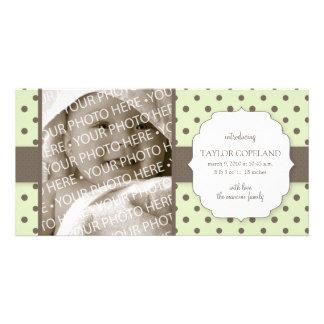 Cute Polka Dots Birth Announcement Photo Card