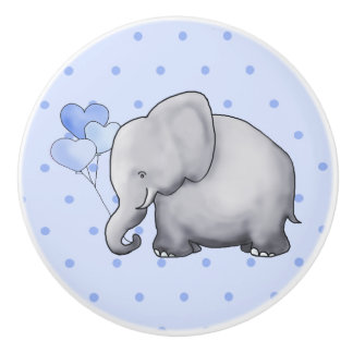 Cute Polka Dots Elephant Baby Boy Nursery Ceramic Knob
