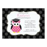 Cute Polka Dots Grad Owl Girl Graduation 13 Cm X 18 Cm Invitation Card