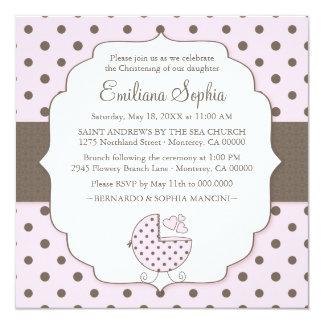 Cute Polka Dots Modern Baby Christening Invitation