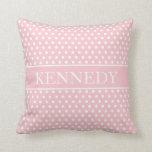 Cute Polka Dots Monogram | Light Pink White Throw Cushion