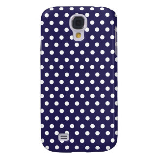Cute Polka Dots | Navy Blue and White Galaxy S4 Case