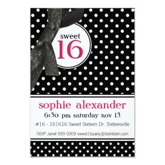 "Cute Polkadot Pattern Sweet 16 Party 3.5"" X 5"" Invitation Card"